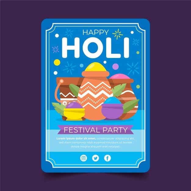 Flacher holi festival flyer Kostenlosen Vektoren