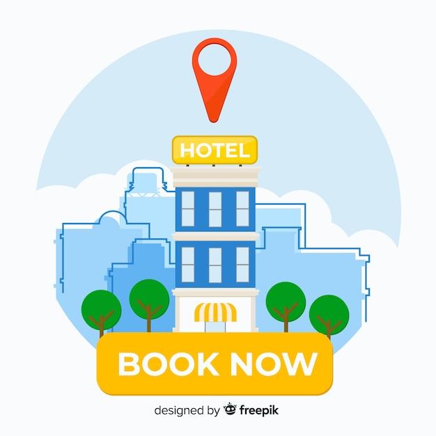 Flacher hotelbuchungshintergrund Kostenlosen Vektoren