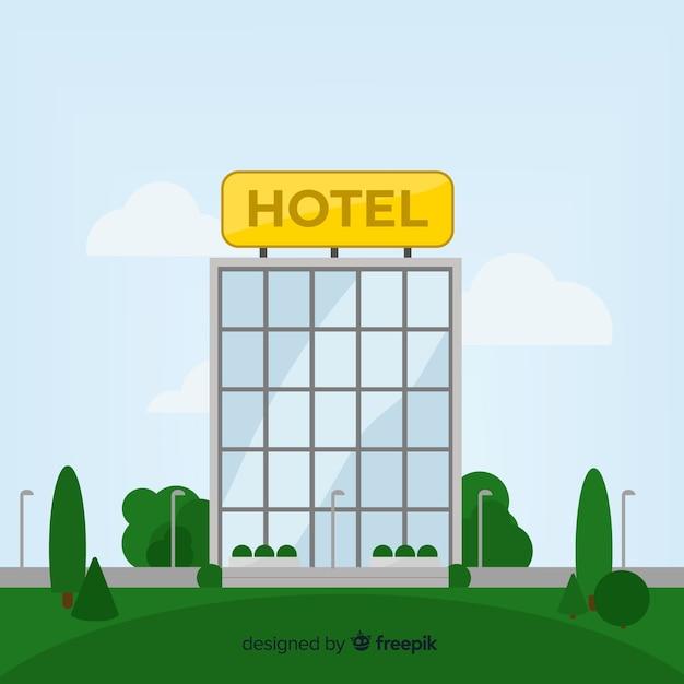 Flacher hotelgebäude hintergrund Kostenlosen Vektoren
