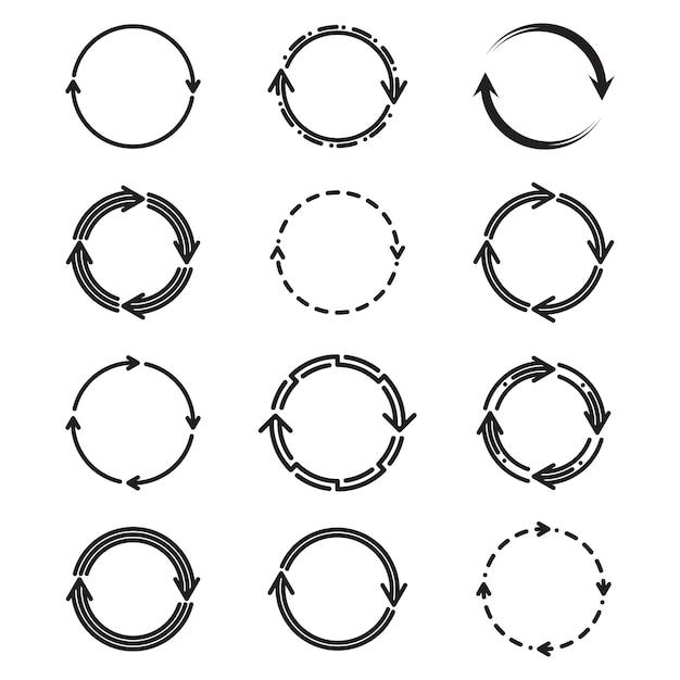 Flacher icon-satz mit verschiedenen kreispfeilen Kostenlosen Vektoren