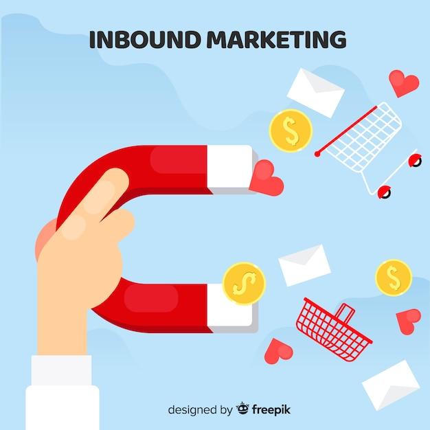 Flacher inbound-marketing-hintergrund Kostenlosen Vektoren