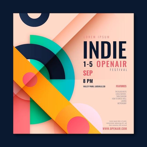 Flacher indie festival quadratischer flyer Kostenlosen Vektoren