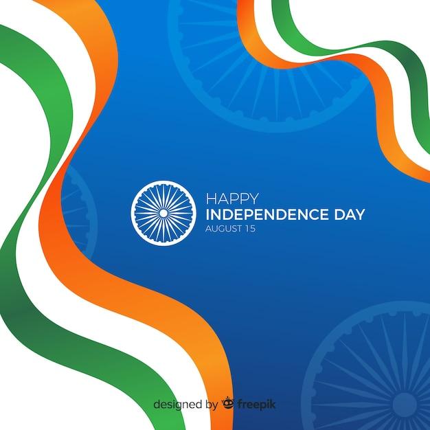 Flacher indien-unabhängigkeitstaghintergrund Kostenlosen Vektoren