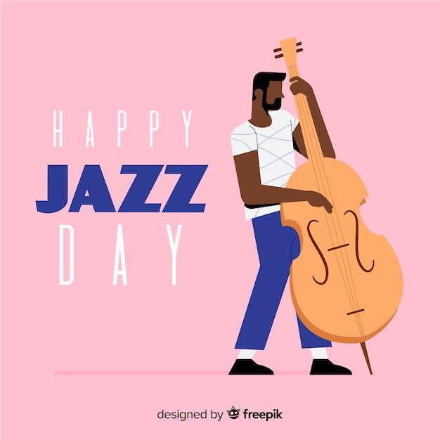 Flacher internationaler jazztageshintergrund Kostenlosen Vektoren