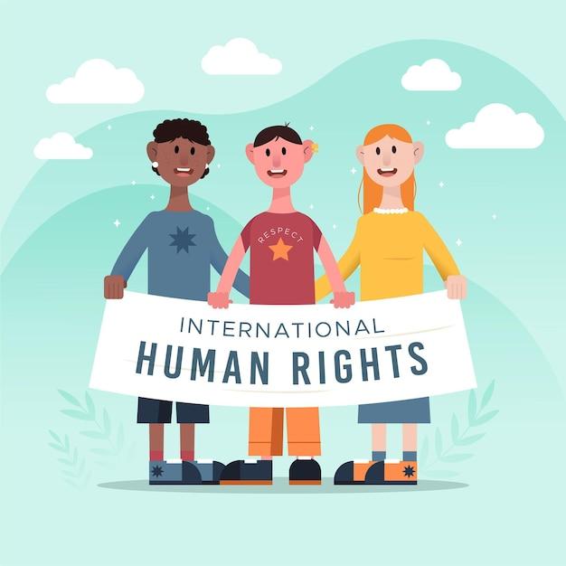 Flacher internationaler tag der menschenrechte Premium Vektoren