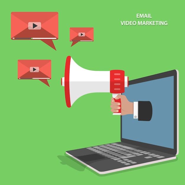 Flacher isometrischer vektor des video-e-mail-marketings. Premium Vektoren