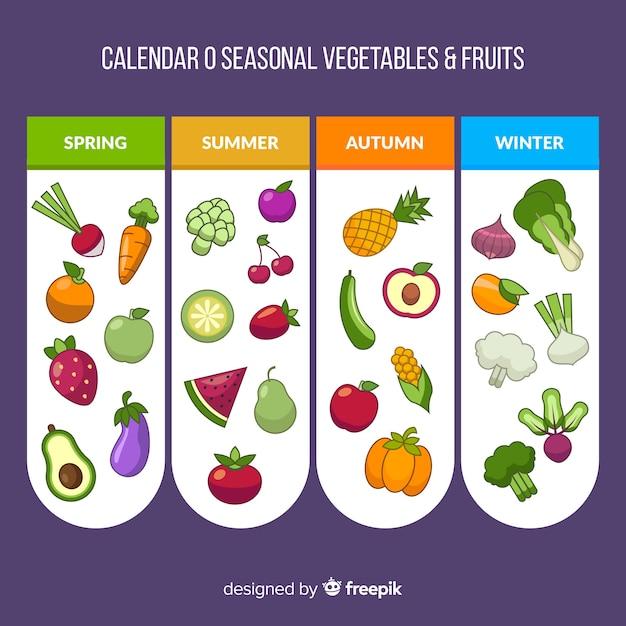 Flacher kalender mit gemüse und früchten der saison Kostenlosen Vektoren