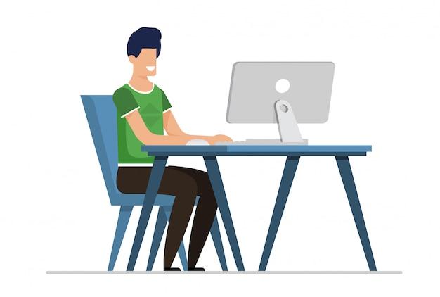 Flacher karikatur-mann, der on-line-datierung auf computer hat Premium Vektoren