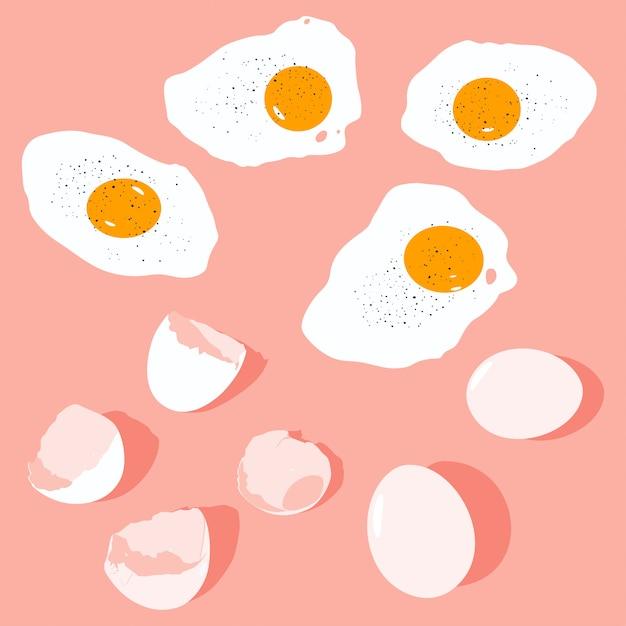 Flacher karikatursatz des eiervektors lokalisiert auf hintergrund Premium Vektoren