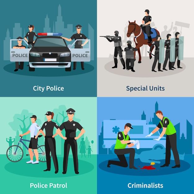 Flacher konzeptsatz der polizeileute von spezialeinheiten-kriminalisten der stadtpolizei und polizeistreife-designzusammensetzungen vector illustration Kostenlosen Vektoren