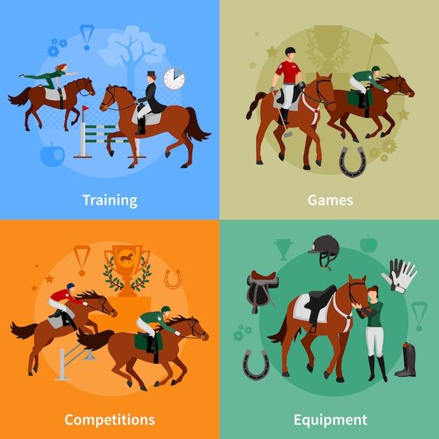 Flacher konzeptsatz des steigenden sports des pferds von jockeyausrüstungstrainingspielwettkämpfen entwerfen zusammensetzungs-vektorillustration Kostenlosen Vektoren