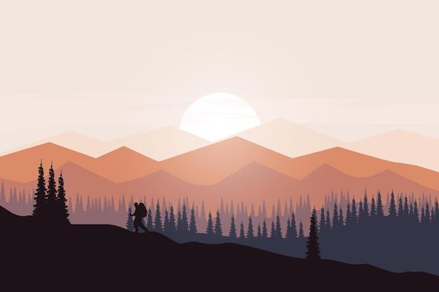 Flacher landschaftsdichter kiefernwald mit schönen bergen Premium Vektoren