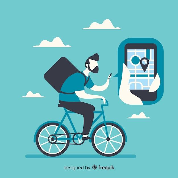Flacher lieferjunge auf fahrradhintergrund Kostenlosen Vektoren
