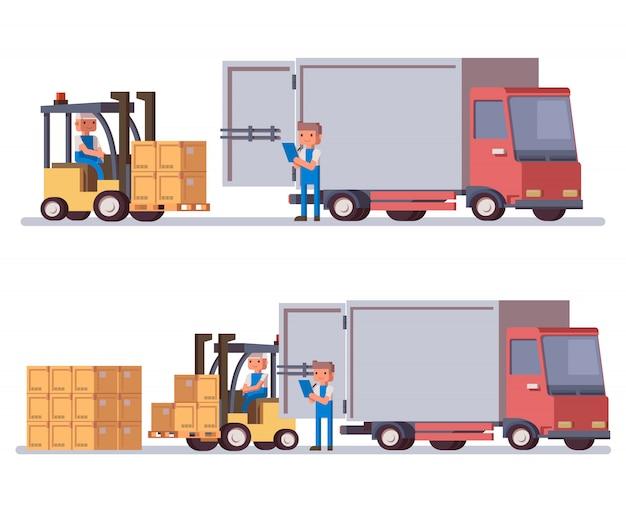 Flacher lieferwagen und gabelstapler Premium Vektoren