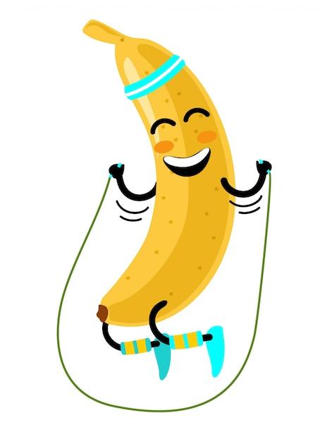 Flacher lustiger bananencharakter, der am seil springt. fröhliche frucht macht übungen mit springseil. isolierte illustration auf einem weißen hintergrund. gesundes, sportliches lifestyle-konzept Premium Vektoren