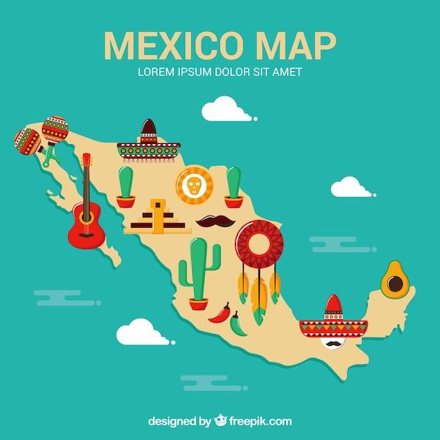 Flacher mexiko-kartenhintergrund Kostenlosen Vektoren