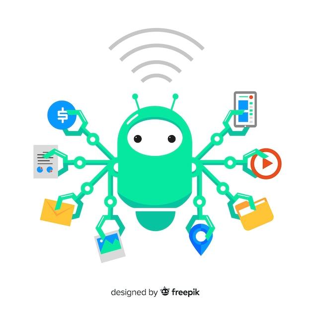 Flacher multitask-roboter Kostenlosen Vektoren