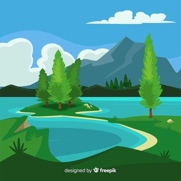 Flacher natürlicher hintergrund mit landschaft Kostenlosen Vektoren