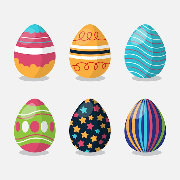 Flacher ostertag bemalte eier eingestellt Kostenlosen Vektoren