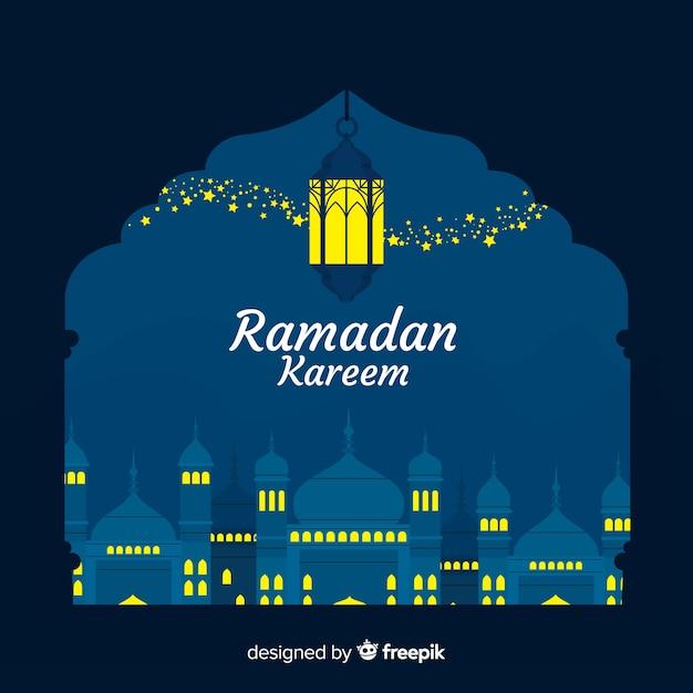 Flacher ramadan-hintergrund Kostenlosen Vektoren