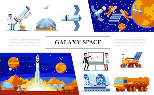 Flacher raum und galaxienzusammensetzung mit astronauten des planetariumsteleskops von wissenschaftlern reparieren satellitenraketenstart mondrover und lkw Kostenlosen Vektoren