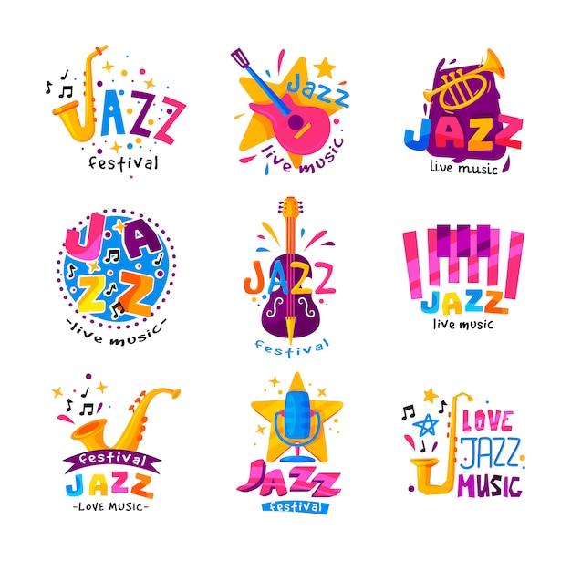 Flacher satz abstrakter logos für jazzfestival. helle kreative embleme mit musikinstrumenten und buntem text Premium Vektoren