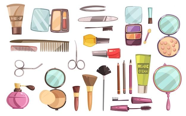 Flacher satz dekorative kosmetik für make-upwerkzeuge für maniküreparfüm und -bürsten lokalisierte vektor Kostenlosen Vektoren