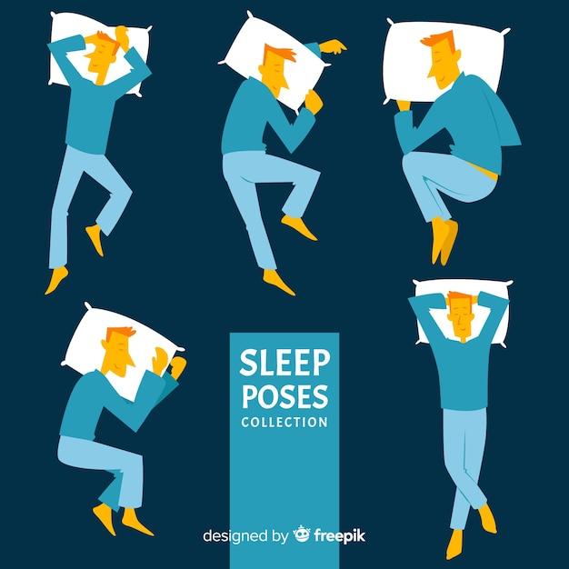 Flacher schlaf stellt die sammlung Kostenlosen Vektoren