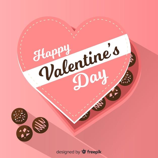 Flacher schokoladenkasten-valentinsgrußhintergrund Kostenlosen Vektoren