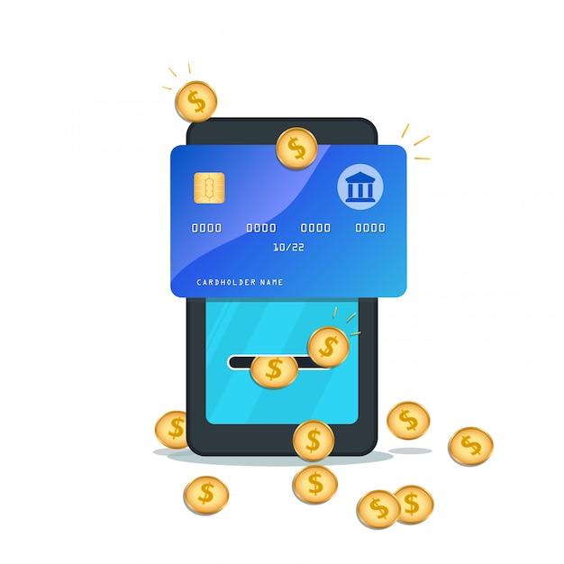 Flacher smartphone mit kreditkarte, goldmünzen lokalisiert Premium Vektoren