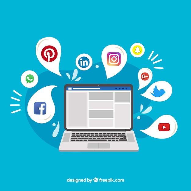 Flacher social media-hintergrund mit computer Kostenlosen Vektoren