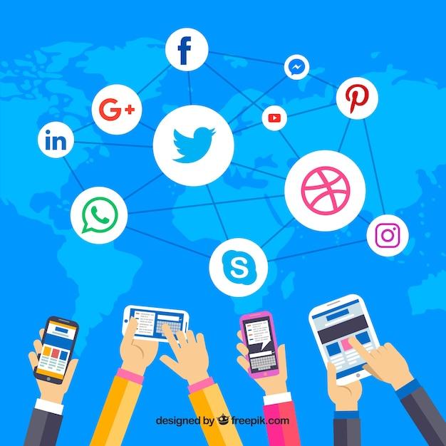 Flacher social media-hintergrund mit handy Kostenlosen Vektoren