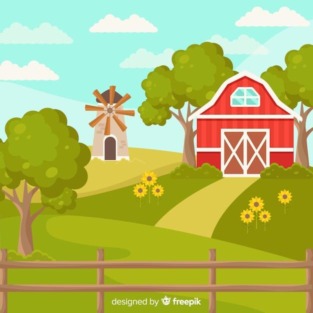 Flacher sonniger bauernhoflandschaftshintergrund Kostenlosen Vektoren