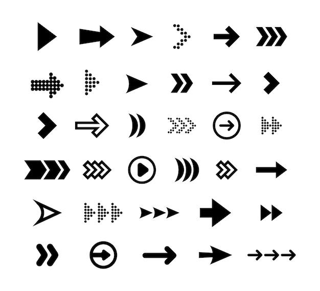Flacher symbolsatz der großen schwarzen pfeile. moderne abstrakte einfache einfache cursor, zeiger und richtungsknopfvektorillustrationssammlung. konzept für webdesign und digitale grafische elemente Kostenlosen Vektoren