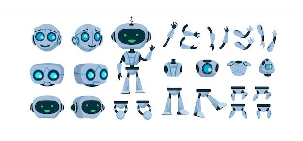 Flacher symbolsatz des futuristischen roboterkonstruktors Kostenlosen Vektoren