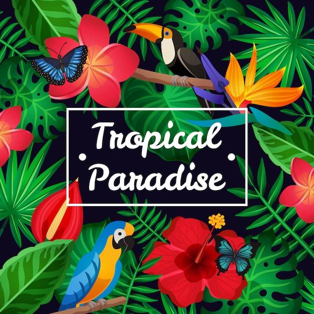 Flacher tropischer rahmen Kostenlosen Vektoren