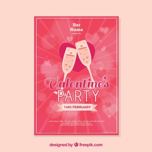 Schön Flacher Valentinstag Party Flyer / Poster Kostenlose Vektoren