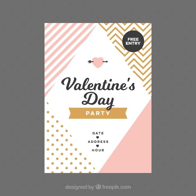 Flacher valentinstagflieger / -plakat Kostenlosen Vektoren
