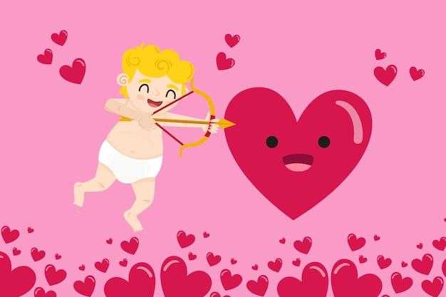 Flacher valentinstaghintergrund mit amor Kostenlosen Vektoren