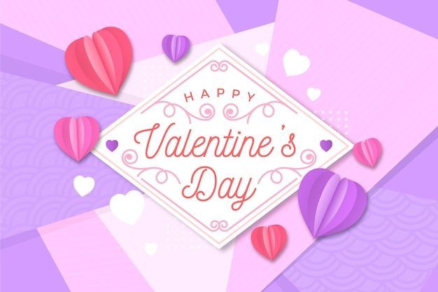 Flacher valentinstaghintergrund und herz geformte ballone Kostenlosen Vektoren