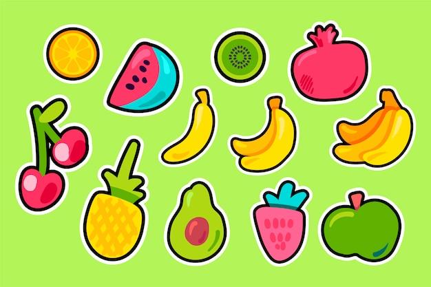 Flacher vektorsatz der tropischen früchte Premium Vektoren