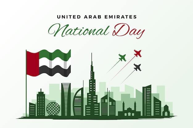 Flacher vereinigter arabischer emirate nationalfeiertag Premium Vektoren