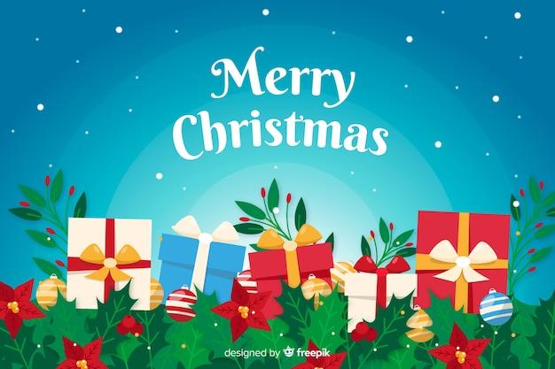 Flacher weihnachtshintergrund mit geschenken Kostenlosen Vektoren