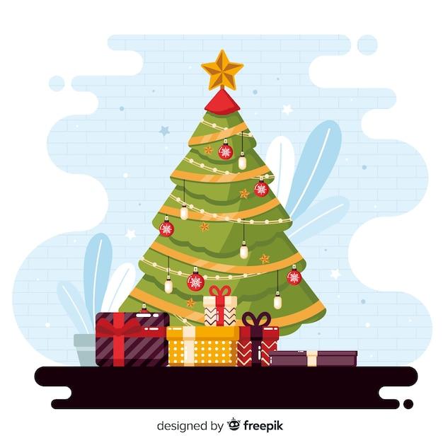 Flacher weihnachtshintergrund mit immergrünem baum Kostenlosen Vektoren