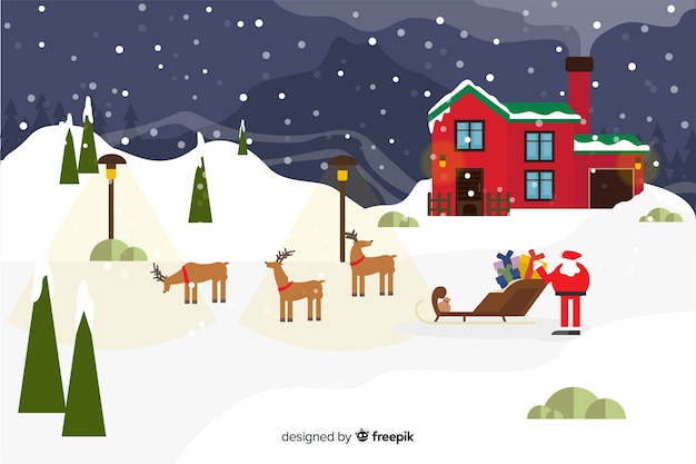 Flacher weihnachtshintergrund mit weihnachtsmann und ren Kostenlosen Vektoren