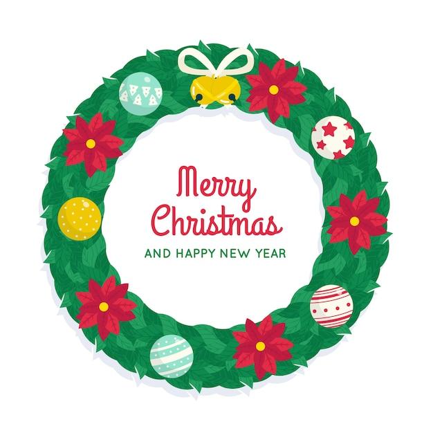 Flacher weihnachtskranz mit poinsettiablumen Kostenlosen Vektoren