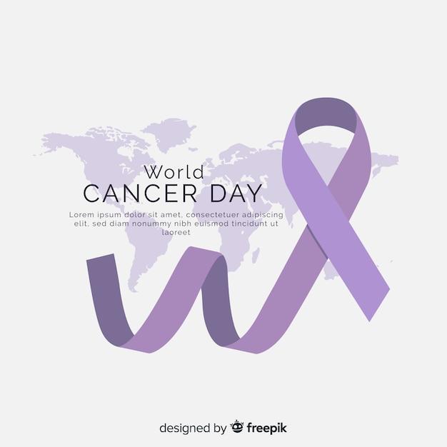 Flacher weltkrebs-tageshintergrund Kostenlosen Vektoren