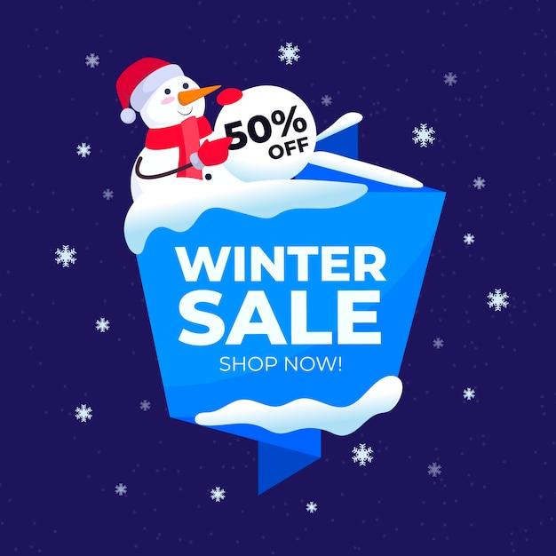 Flacher winterschlussverkauf mit schneemann mit sankt hut Kostenlosen Vektoren