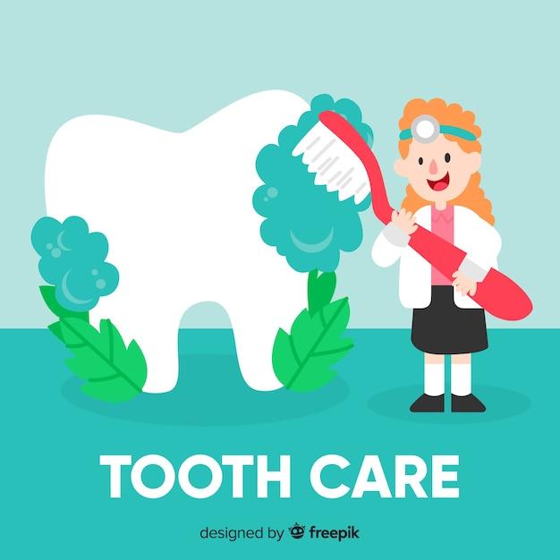 flacher zahnarzt der um einem zahnhintergrund sich