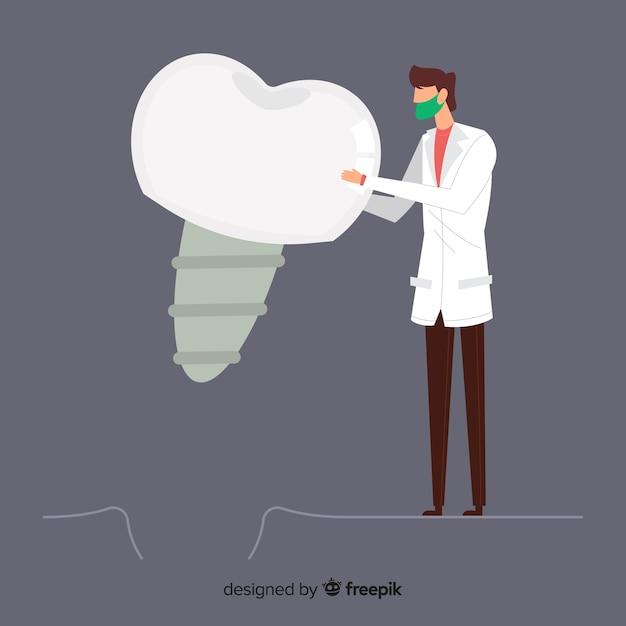 Flacher zahnarzt, der um einem zahnhintergrund sich kümmert Kostenlosen Vektoren